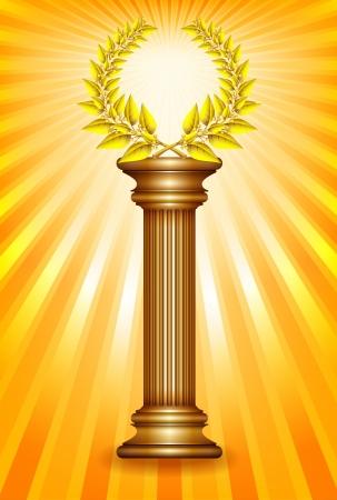 Award column with golden winner laurel wreath over sun rays background.