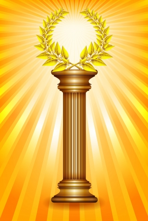 Award column with golden winner laurel wreath over sun rays background. Vector