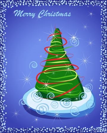 Happy New Year. Gift card with Christmas tree in snow on blue.  Vector