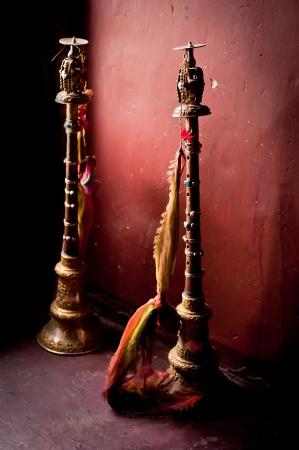 ladakh: Buddhist prayer horns for traditional monk`s ceremony in Tibetan monastery