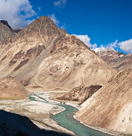 ladakh: Himalaya high mountain landscape with river in summer  India