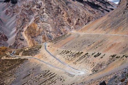 himalaya: Road in Himalaya high mountain landscape. India, Ladakh. Sarchu Plains, altitude 4300 m