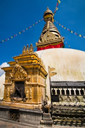Buddhist Shrine Swayambhunath Stupa. Monkey Temple Nepal, Kathmandu photo