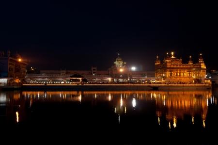 gurdwara: Golden Temple under night sky. Holy Sikh Place Harmandir Sahib Gurdwara. India, Amritsar, Punjab