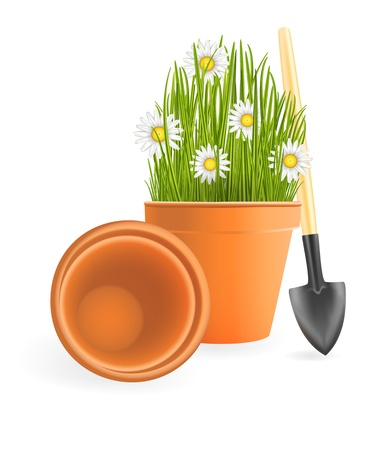 Spring Gardening. Chamomile flowers with green grass in flower pot and small garden shovel on white background Stock Vector - 16841778