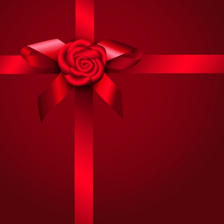Red ribbon rose and bow Stock Vector - 16990269