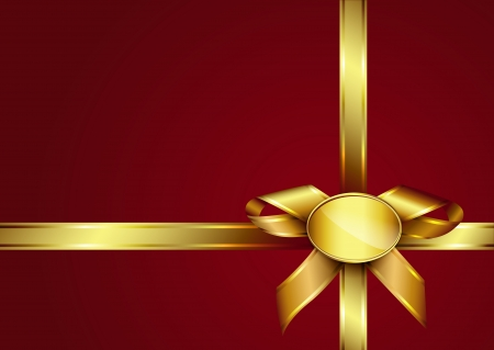 foe: Golden ribbon bow and label on red invitation card. Design for gift card or present box with copy space foe text. Vector eps10 illustration