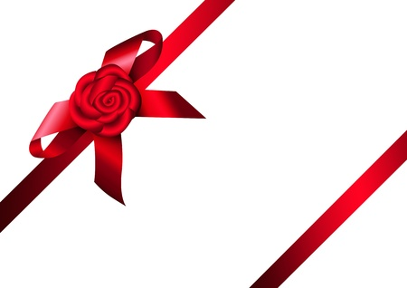 Red ribbon rose and bow. Design for gift, invitation card or present box. Stock Vector - 17119772