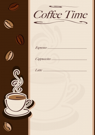 Cafe or restaurant card for coffee menu. Cup of hot coffee and coffee beans.