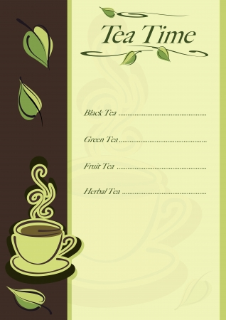 afternoon break: Cafe or restaurant card for tea menu. Cup of hot tea and leaves.