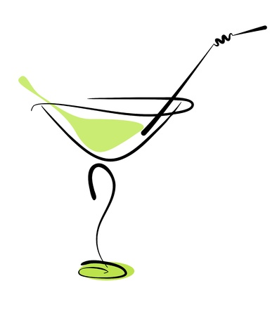 Alcohol cocktail in glass with straw on white.  Stock Photo