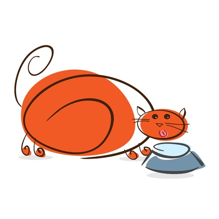 Plump red cat drinking milk    illustration illustration