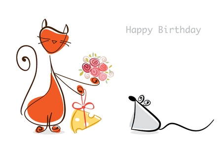 Happy Birthday  Red cat congratulates mouse with flowers and cheese   illustration Stock Illustration - 17451595