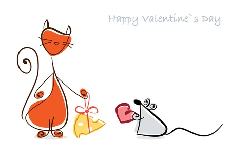 Happy Valentine  Red cat and mouse with gifts    illustration illustration