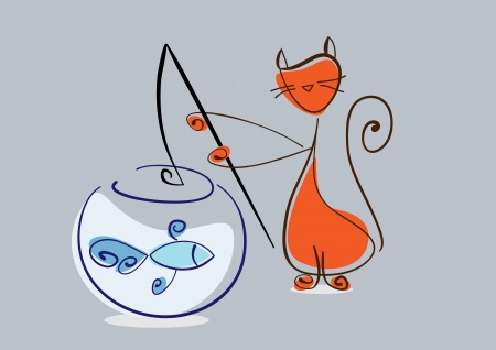 Red cat catches fish from aquarium.  illustration Vector