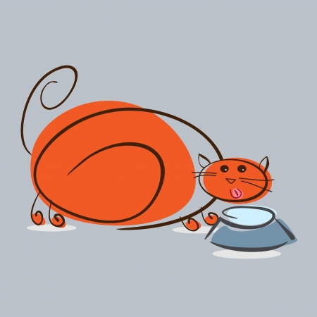 Plump red cat drinking milk.  illustration Vector