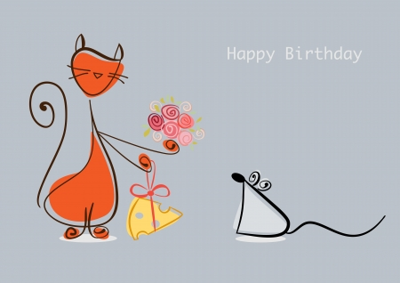 Happy Birthday. Red cat congratulates mouse with flowers and cheese.   illustration Vector