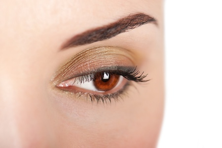 brows: Close up beautiful woman eye with professional make up Stock Photo