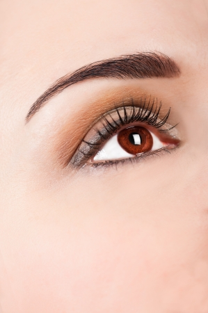Close up beautiful woman eye with professional make up Stock Photo