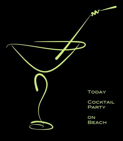 copa de martini: C�ctel. Silueta verde de c�ctel de alcohol en vidrio con la paja en negro.