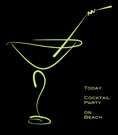 martini glass: Cocktail party. Green silhouette of alcohol cocktail in glass with straw on black.  Illustration