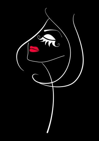 visage: Maquillaje de la manera. Silueta hermosa Resumen cara de la mujer sobre fondo negro.