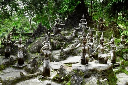 koh: Amphitheater of angels statue in Buddha Magic Garden or Secret Buddha Garden  Koh Samui island, Thailand  Three images panorama