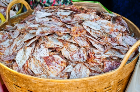 calmar: Sea food at market. Selling dry calamari in Thailand Stock Photo