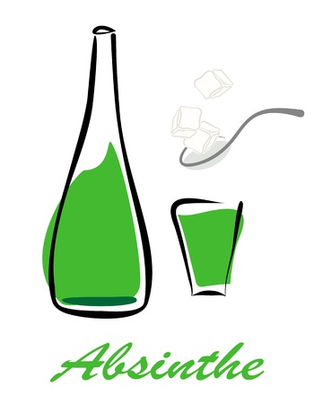 lump: Bottle of absinthe, short glass and spoon with lump sugar. Vector eps10 illustration