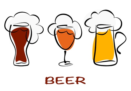barley hop: Beer collection. Three mugs of beer pint on white. Vector eps10 illustration