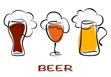 beer pint: Colecci�n de cerveza. Tres jarras de medio litro de cerveza en blanco. Vector eps10 ilustraci�n