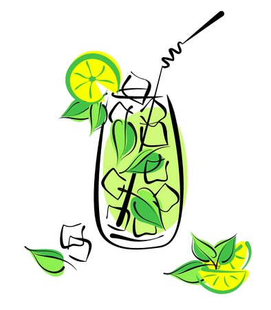 Iced mojito with lime and mint. Alcohol cocktail in glass with straw on white. Vector eps10 illustration Vector