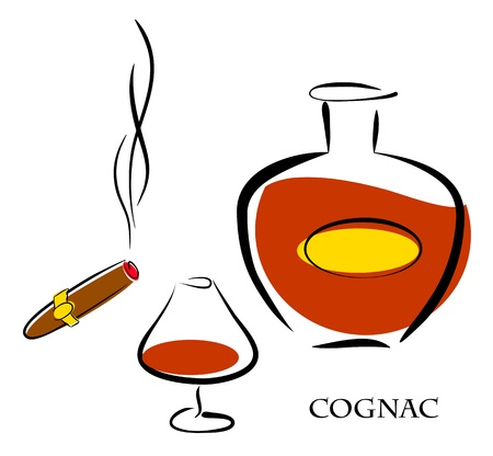 cognac: Glass and bottle of luxury cognac with best tobacco cigar for high quality lifestyle. Vector eps10 illustration Illustration