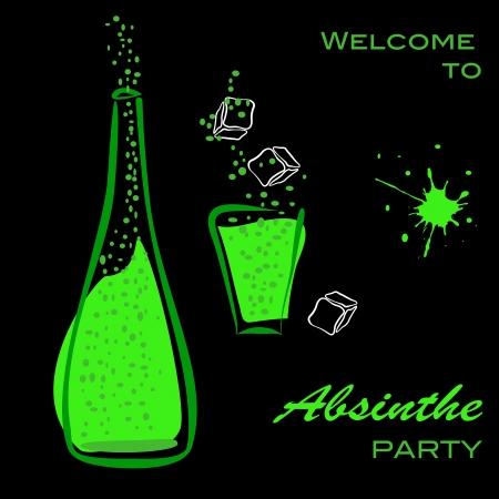 ajenjo: Bienvenidos a la fiesta del ajenjo. Botella y vidrio silueta de alcohol verde sobre negro. Vector eps10 ilustración Vectores