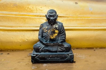 koh: Black monk statue in Wat Phra Yai Temple. Koh Samui island, Thailand