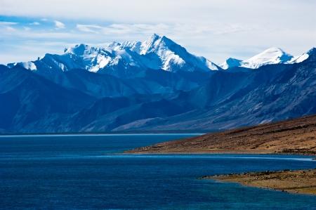 ladakh: Dawn at Tso Moriri Lake  Altitude 4600 m  View on Himalaya mountains landscape with Gya peak in snow, 6794 m  India, Ladakh