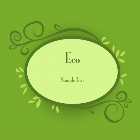 Ecology concept card with leaves and nature ornated frame. Vector eps10 floral illustration  Vector