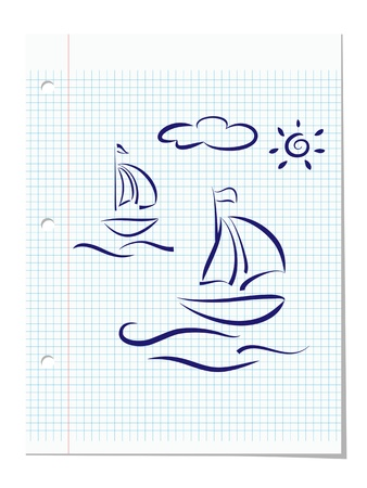 Summer holiday concept  Hand drawing of boats, ocean waves and sun at lined notebook paper sheet  Vector eps10 illustration Vector