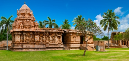 Gangaikonda Cholapuram Temple. Great architecture of Hindu Temple dedicated to Shiva. South India, Tamil Nadu, Thanjavur (Trichy). Six vertical images panorama Stock Photo