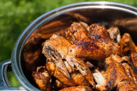 Cooking delicious juicy chicken wings at outdoors grill Stock Photo - 20954736