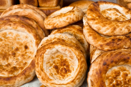 market place: Traditional asian bread for sale at bakery in market place Stock Photo