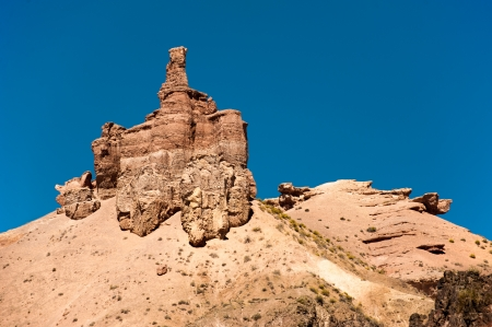 Rock formations at Charyn canyon under blue sky  State National Paleontology Park in Kazakhstan Stock Photo - 21565989