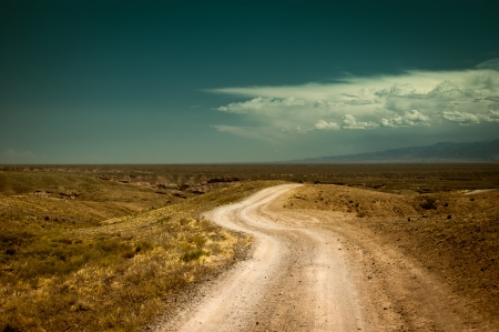 road travel: Empty rural road going through prairie under cloudy sky in Charyn canyon  State National Paleontology Park in Kazakhstan  Vintage style processing image