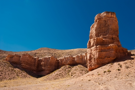 paleontology: Rock formations at Charyn canyon under blue sky  State National Paleontology Park in Kazakhstan