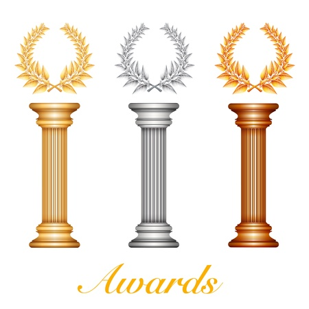 Gold silver and bronze award column with laurel wreath for jubilee text or competition winner over sun rays background.