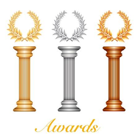 Goud zilver en kolom bronzen award met lauwerkrans voor jubileum tekst of competitie winnaar over zonnestralen achtergrond. Stock Illustratie