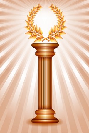 third birthday: Bronze award column with laurel wreath for jubilee text or competition winner over sun rays background.