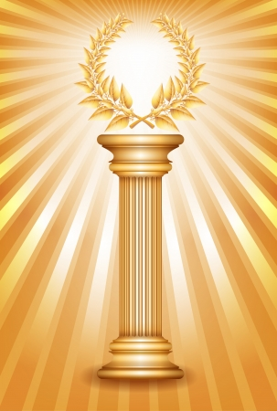 Gold award column with laurel wreath for jubilee text or competition winner over sun rays background. Vector