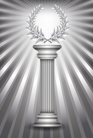 Silver award column with laurel wreath for jubilee text or competition winner over sun rays background.  Vector