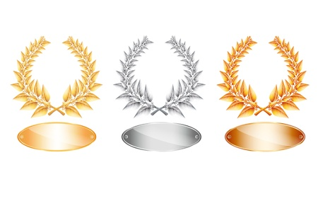 Gold silver and bronze laurel wreath and label for jubilee text or competition winner on white background.  Vector